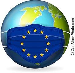 World globe with medical mask EU flag