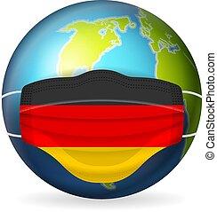 World globe with medical mask Germany flag