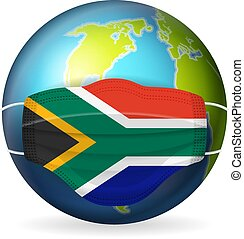 World globe with medical mask South Africa flag