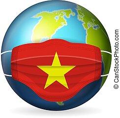 World globe with medical mask Vietnam flag