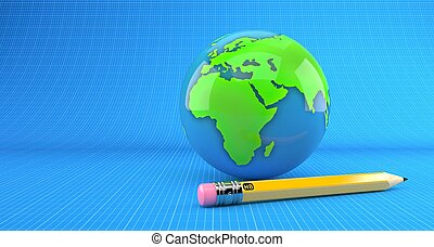 World globe with pencil on blueprint background