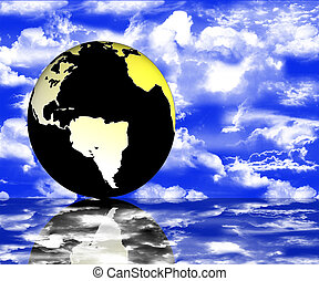 World globe with reflections