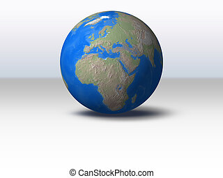 World Globe with shadow and background