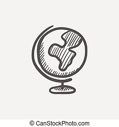 World globe with stand sketch icon