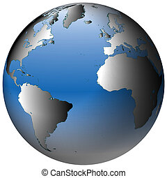 World Globe:Atlantic, with blue-shaded oceans