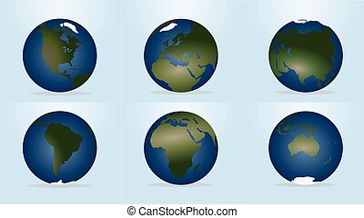World globewith continents map