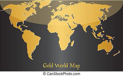 world., gold, landkarte