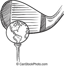 Doodle style playing golf with the world sketch in vector format