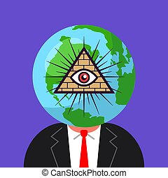 world government of freemasons. man with a planet on his head