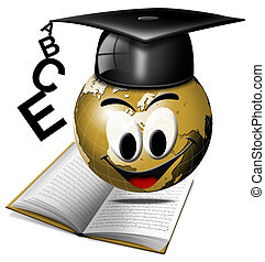 World graduation - Humorous illustration university degree...