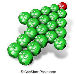 World green indicator - Arrow formed by green and red tip...