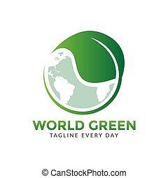 World green logo design template
