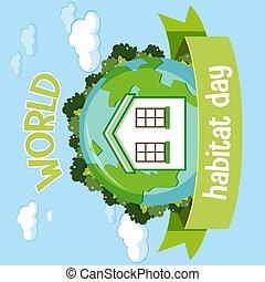World Habitat Day 5 October icon logo with a house on globe
