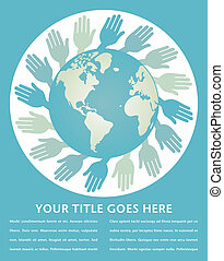 World hands design. - World hands design with copy space.