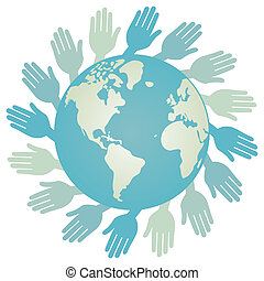 World hands vector.