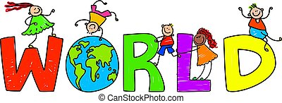 world - Happy little children climbing over the word WORLD.