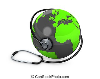 World health - 3d rendering, concept image, Stethoscope and...