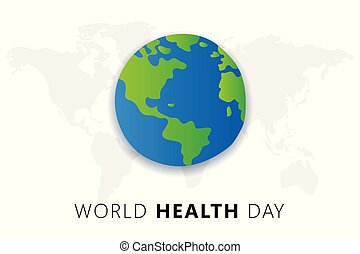 World health Day. 7th april. The Earth Vector isolated  illustration on light blue background with maps