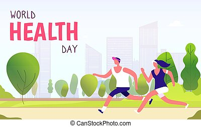 World health day background. Healthy lifestyle man woman fitness fun runner healthcare global medicine holiday vector concept