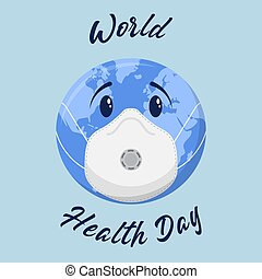 World Health Day background with blue earth globe in medical mask. Vector.