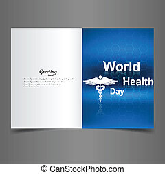 World health day caduceus medical symbol greeting card blue colorful illustration design vector