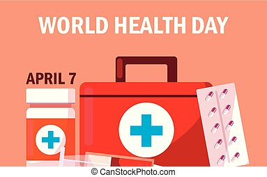 world health day card with first aid kit