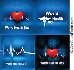 World health day collection set background concept with medical symbol vector illustration