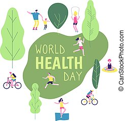 World health day concept. Healthy lifestyle man woman fitness diet fun runner healthcare vector background