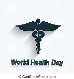 World health day concept medical background on caduceus medical symbol illustration vector