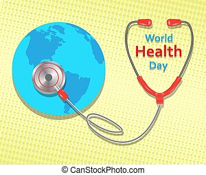 World health day concept on yellow background. Vector illustration