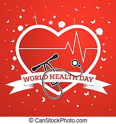 World Health Day Concept with Doctor Stethoscope and Red Heart.