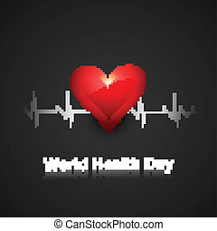 World health day concept with heart beats medical colorful background vector