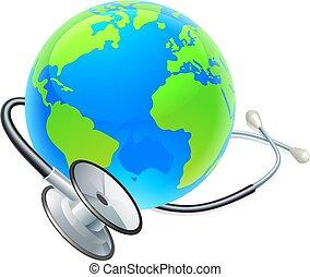 World Health Day Earth Stethoscope Globe Concept