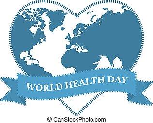 World health day. Globe in heart shape on white background.