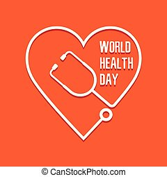 World Health Day heart and stethoscope.