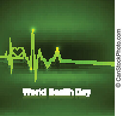 World health day medical concept with heart beats green colorful background illustration