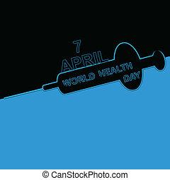 World health day syringe bright colorful medical symbol illustration background