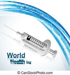World health day syringe medical concept reflection medical symbol vector