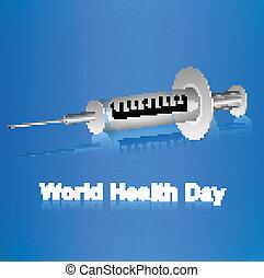 World health day syringe reflection medical symbol design vector