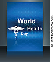 World health day vector concept medical background brochure on caduceus medical symbol design template