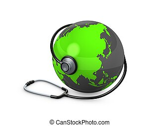 3d image, concept image world health. isolated over white background