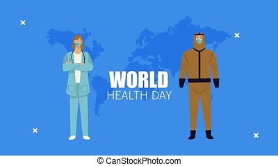 world healthy day lettering with medical workers