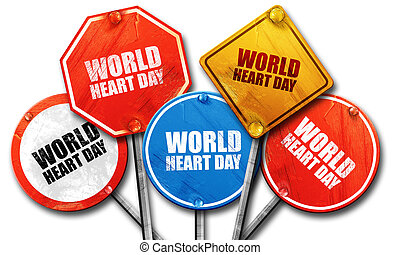 world heart day, 3D rendering, street signs