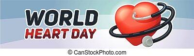 World heart day banner horizontal, cartoon style