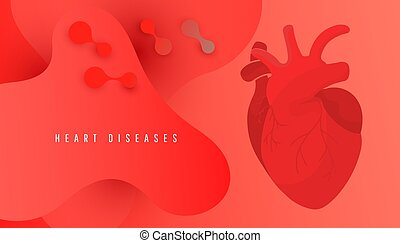 World Heart Day banner with human heart on red background vector design.