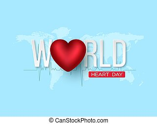 World heart day concept. 3d red heart with white letters on blue map background, vector illustration.