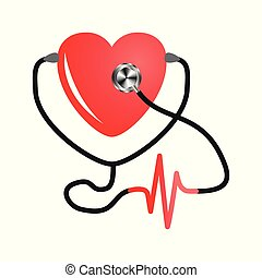 World heart day. Stethoscope Of Heart. Flat Vector on isolated white background. Medical service design, cardiogram.