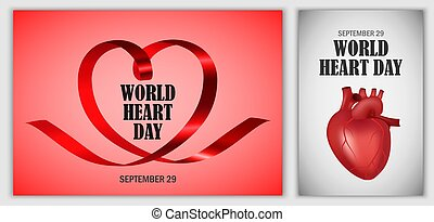World Heart Day world banner set, realistic style