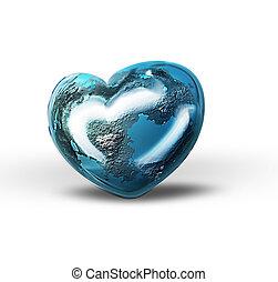 World heart isolated on white background