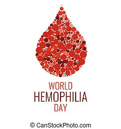 World Hemophilia Day. Drop of blood made of dots on white background. Blood drop symbol. Hemophilia sign. Hemophilia awareness symbol. Stop hemophilia. Isolated vector illustration.